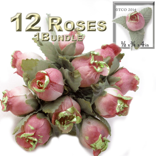 Artificial flowers, Gold Dipped Tips, Tulips, 0.5-inch, 12-pc Rustic Peach with gold tips