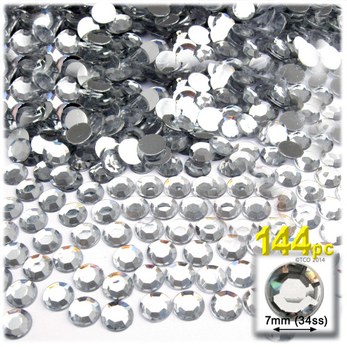Rhinestones, Flatback, Round, 7mm, 144-pc, Clear