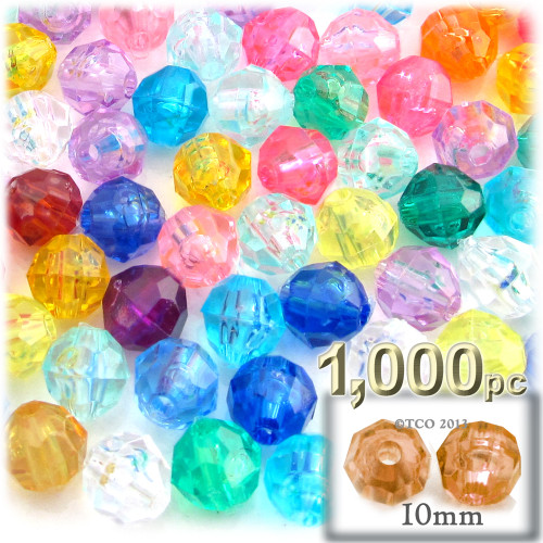 Faceted Round Beads, Transparent, 10mm, 1,000-pc, Multi Mix