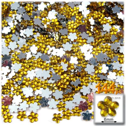 Rhinestones, Flatback, Flower, 6mm, 144-pc, Golden Yellow