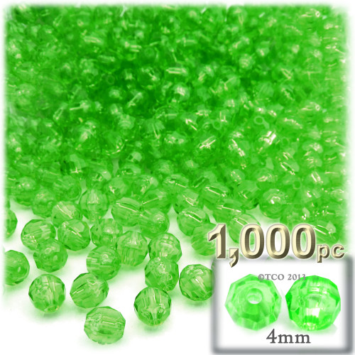 Plastic Faceted Beads, Transparent, 4mm, 1,000-pc, Light Green