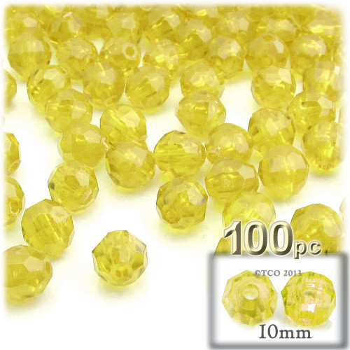 Faceted Round Beads, Transparent, 10mm, 100-pc, Acid Yellow