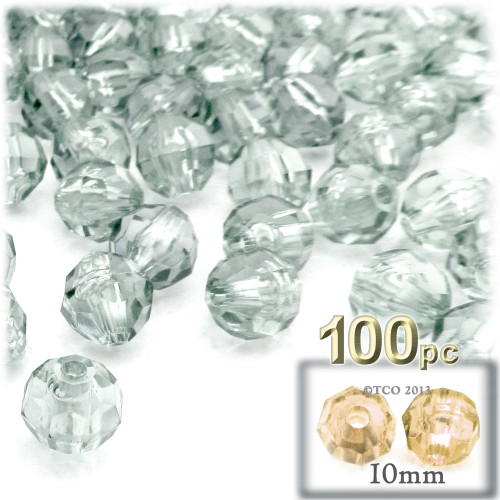 Faceted Round Beads, Transparent, 10mm, 100-pc, Clear