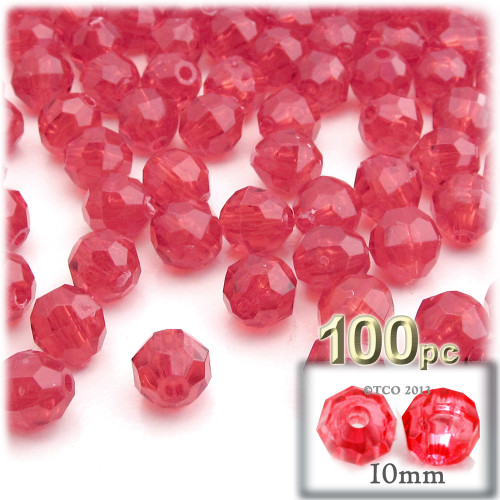 Faceted Round Beads, Transparent, 10mm, 100-pc, Christmas Red