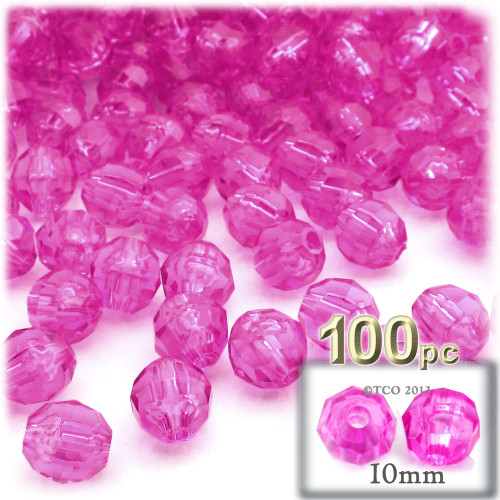 Faceted Round Beads, Transparent, 10mm, 100-pc, Hot Pink