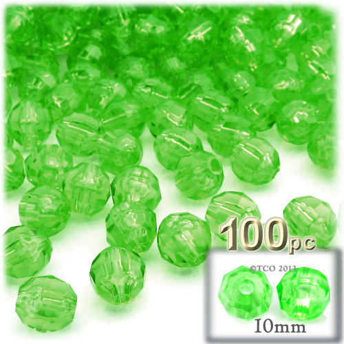 Faceted Round Beads, Transparent, 10mm, 100-pc, Light Green