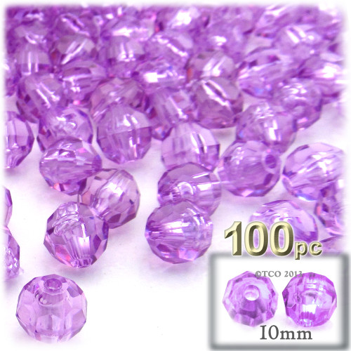 Faceted Round Beads, Transparent, 10mm, 100-pc, Lavender Purple