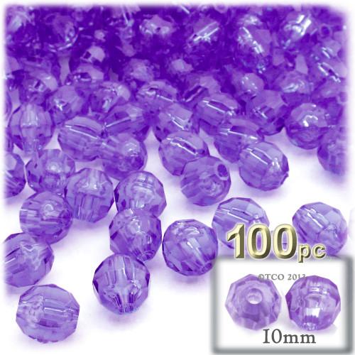 Faceted Round Beads, Transparent, 10mm, 100-pc, Dark Purple
