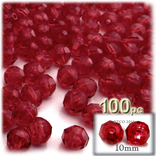 Faceted Round Beads, Transparent, 10mm, 100-pc, Raspberry Red
