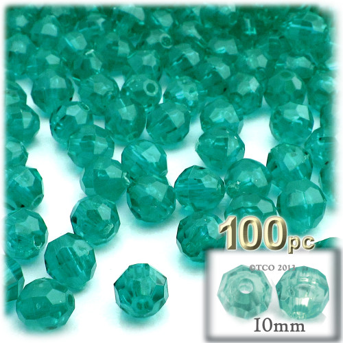 Faceted Round Beads, Transparent, 10mm, 100-pc, Teal