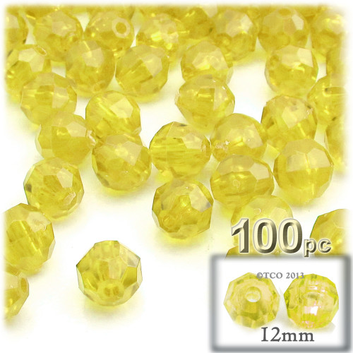 Plastic Faceted Beads, Transparent, 12mm, 100-pc, Acid Yellow
