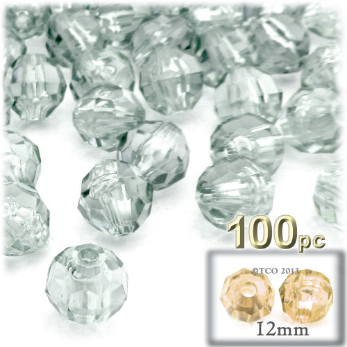 Plastic Faceted Beads, Transparent, 12mm, 100-pc, Clear