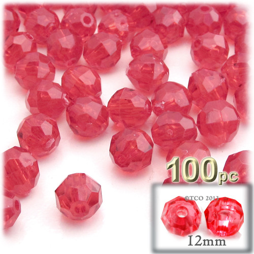 Plastic Faceted Beads, Transparent, 12mm, 100-pc, Christmas Red