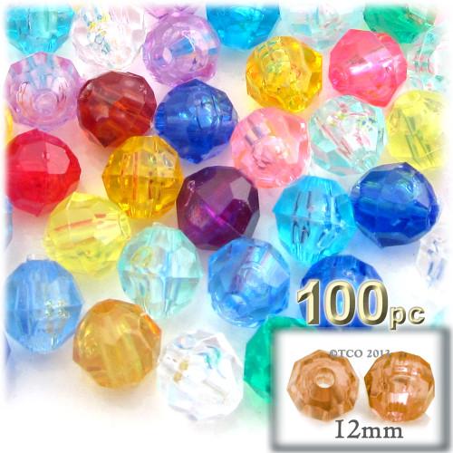 Plastic Faceted Beads, Transparent, 12mm, 100-pc, Multi Mix
