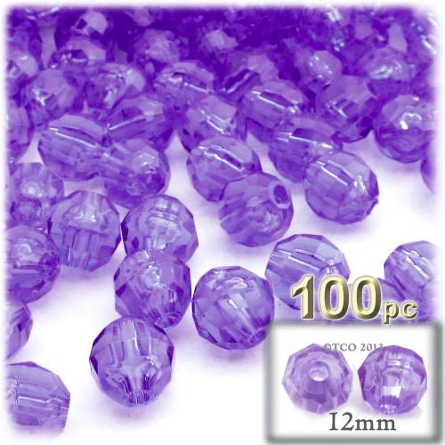 Plastic Faceted Beads, Transparent, 12mm, 100-pc, Dark Purple