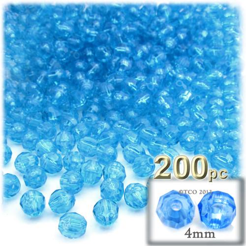 Plastic Faceted Beads, Transparent, 4mm, 200-pc, Aqua
