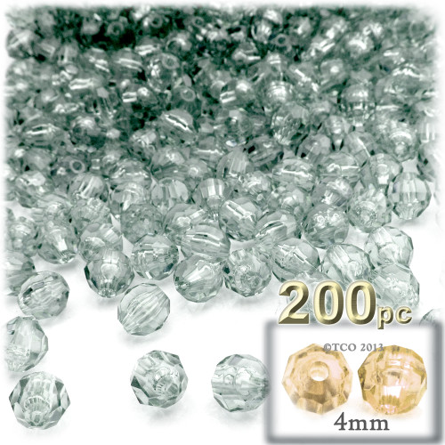 Plastic Faceted Beads, Transparent, 4mm, 200-pc, Clear