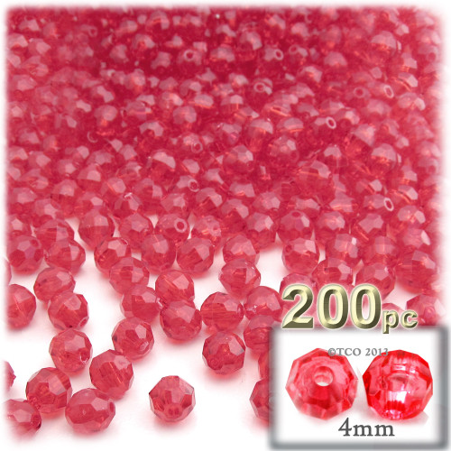 Plastic Faceted Beads, Transparent, 4mm, 200-pc, Christmas Red