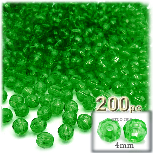 Plastic Faceted Beads, Transparent, 4mm, 200-pc, Emerald green