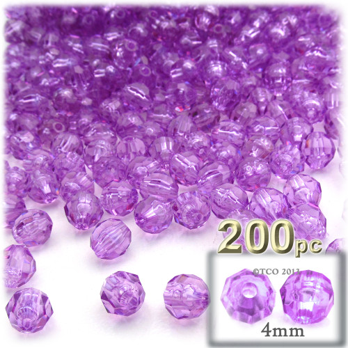 Plastic Faceted Beads, Transparent, 4mm, 200-pc, Lavender Purple