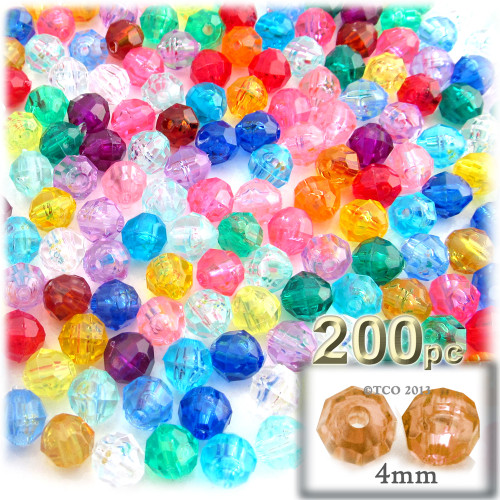 Plastic Faceted Beads, Transparent, 4mm, 200-pc, Multi Mix