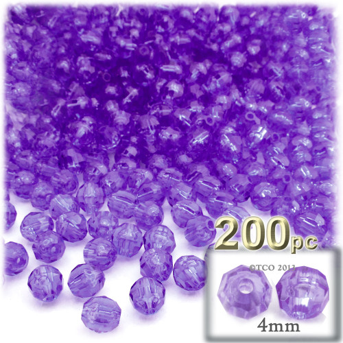 Plastic Faceted Beads, Transparent, 4mm, 200-pc, Dark Purple
