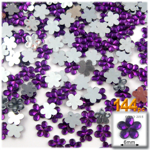 Rhinestones, Flatback, Flower, 6mm, 144-pc, Purple (Amethyst)