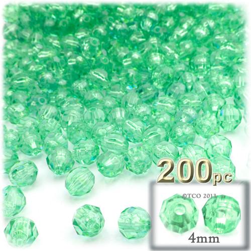 Plastic Faceted Beads, Transparent, 4mm, 200-pc, Sea Mist