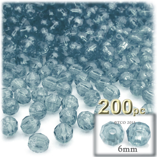 Plastic Faceted Beads, Transparent, 6mm, 200-pc, Blue Jeans