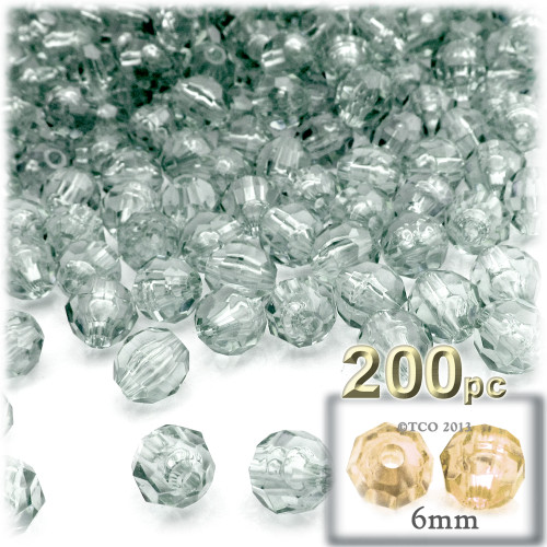 Plastic Faceted Beads, Transparent, 6mm, 200-pc, Clear