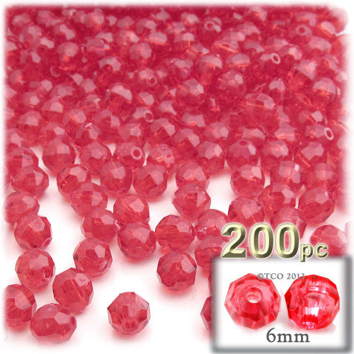 Plastic Faceted Beads, Transparent, 6mm, 200-pc, Christmas Red