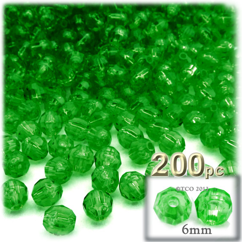 Plastic Faceted Beads, Transparent, 6mm, 200-pc, Emerald green