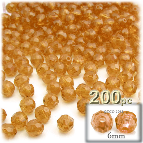 Plastic Faceted Beads, Transparent, 6mm, 200-pc, Sun Yellow