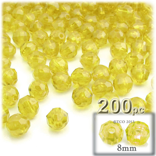 Plastic Faceted Beads, Transparent, 8mm, 200-pc, Acid Yellow