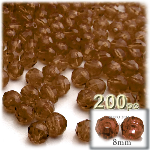 Plastic Faceted Beads, Transparent, 8mm, 200-pc, Brown