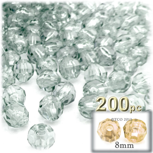 Plastic Faceted Beads, Transparent, 8mm, 200-pc, Clear