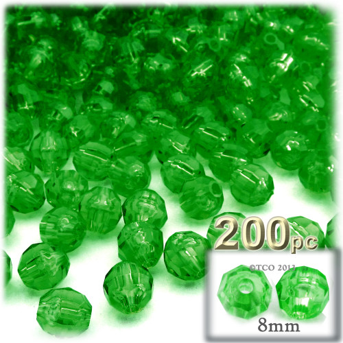 Plastic Faceted Beads, Transparent, 8mm, 200-pc, Emerald green