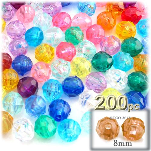 Plastic Faceted Beads, Transparent, 8mm, 200-pc, Multi Mix
