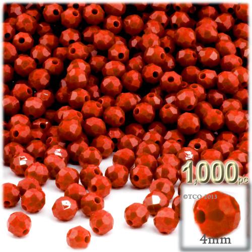 Plastic Faceted Beads, Opaque, 4mm, 200-pc, Dark Orange