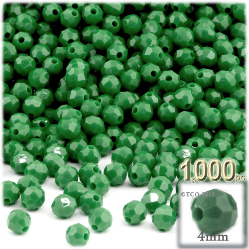 Plastic Faceted Beads, Opaque, 4mm, 200-pc, Emerald green
