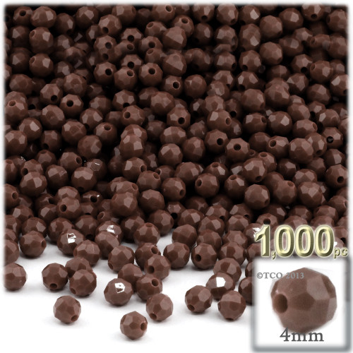 Plastic Faceted Beads, Opaque, 4mm, 200-pc, Brown
