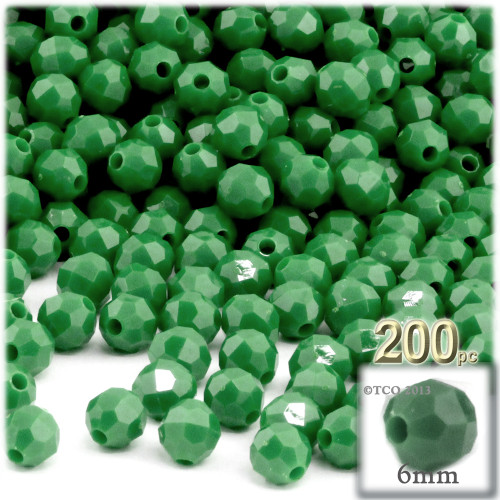 Plastic Faceted Beads, Opaque, 6mm, 200-pc, Emerald green