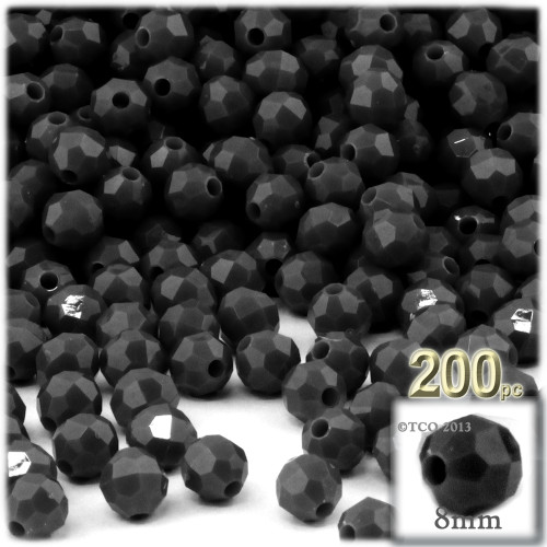Plastic Faceted Beads, Opaque, 8mm, 200-pc, Black