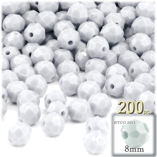 Plastic Faceted Beads, Opaque, 8mm, 200-pc, White