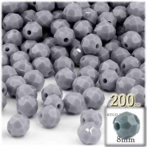 Plastic Faceted Beads, Opaque, 8mm, 200-pc, Gray