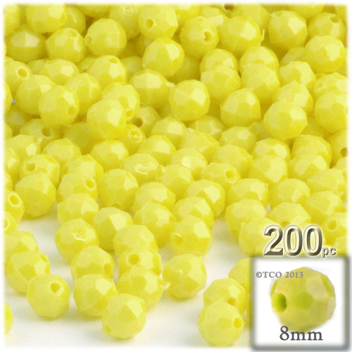Plastic Faceted Beads, Opaque, 8mm, 200-pc, Yellow