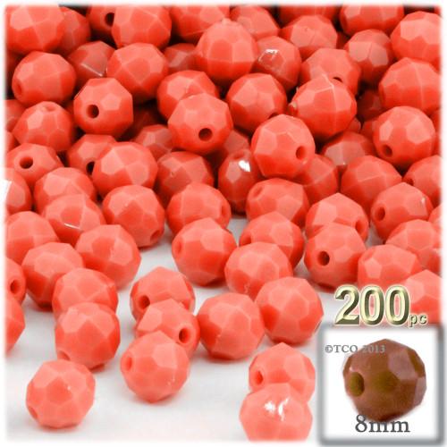 Plastic Faceted Beads, Opaque, 8mm, 200-pc, Orange