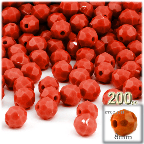 Plastic Faceted Beads, Opaque, 8mm, 200-pc, Dark Orange