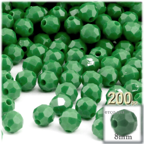 Plastic Faceted Beads, Opaque, 8mm, 200-pc, Emerald green
