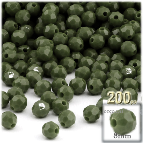 Plastic Faceted Beads, Opaque, 8mm, 200-pc, Army Green